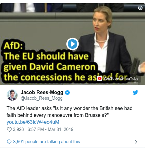 Brexit: Jacob Rees-Mogg defends tweet of far-right AfD clip