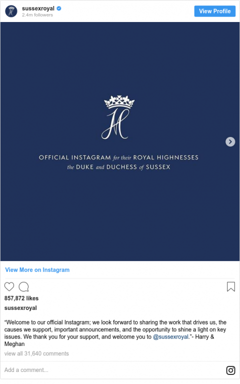 Prince Harry and Meghan break Instagram record