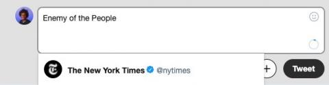 Twitter is telling users to tag the New York Times when they type 'Enemy of the people' but the site is actually being triggered by the word 'People' and it's not clear why (TWTR)