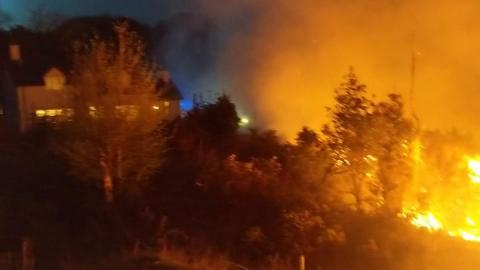 NI firefighters battle mile-wide fire