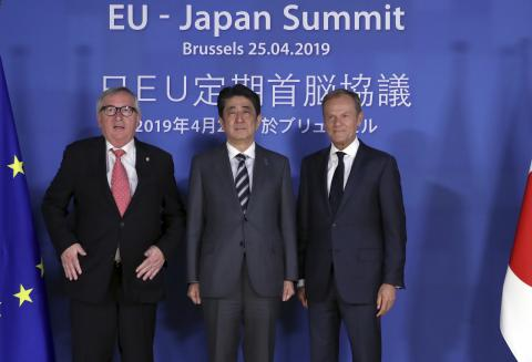 Abe has busy day, meeting 3 PMs in Slovakia; then talking trade with EU in Belgium