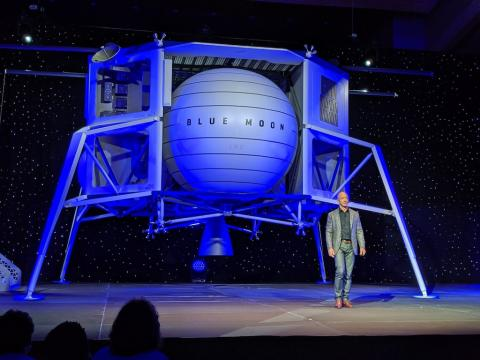 Jeff Bezos just unveiled a giant moon lander that he says will take cargo a?? and maybe astronauts a?? back to the lunar surface