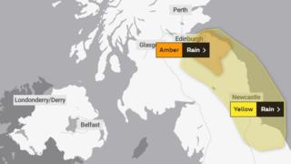 Amber warning issued for heavy rain in east of Scotland