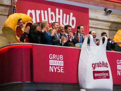 GrubHub pops as Amazon exits restaurant delivery in the US (GRUB)