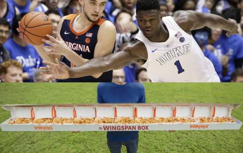 Popeyes is selling a 6-foot-10 box of chicken for $75 to celebrate presumed No. 1 NBA draft pick Zion Williamson