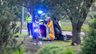 Woman seriously injured in Borders police car crash