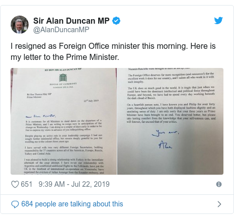 Tory leadership race: Alan Duncan resigns as minister
