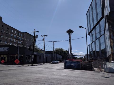 We checked out the neighborhood where Apple is building a new Seattle campus, just blocks away from Amazon HQ (AAPL)