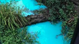 River Frome tributary turns bright blue