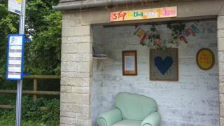 Thrupp bus shelter mysteriously made into cosy sitting room