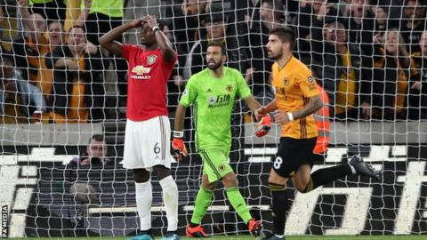 Pogba misses penalty as Man Utd draw at Wolves