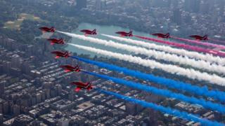 Red Arrows stage display over New York City