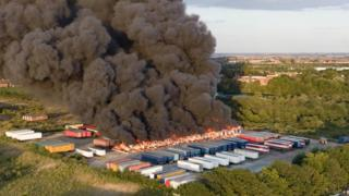 Peterborough fire: Trailer blaze at Hotpoint factory