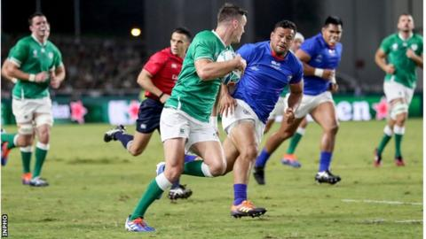Ireland thrash Samoa to reach World Cup last eight