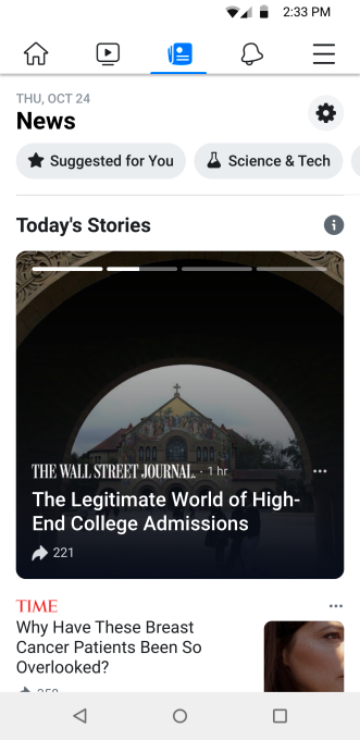 Facebook starts testing News, its new section for journalism