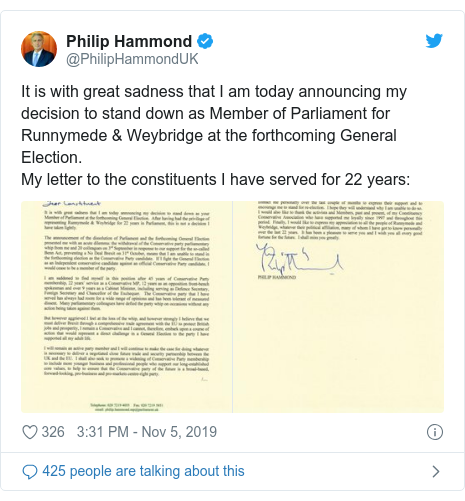 General election 2019: Philip Hammond to stand down as MP