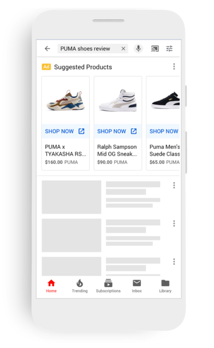 Shopping ads come to YouTube's home feed and search results