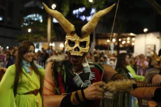 Mythical creatures appear in Medellin