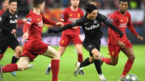 Liverpool: Takumi Minamino of Red Bull Salzburg in Jurgen Klopp