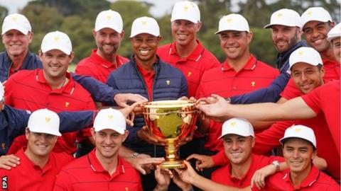 Woods victory sets up US Presidents Cup win over International team
