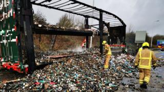 Pringles lorry fire closes M1 slip road in Derbyshire