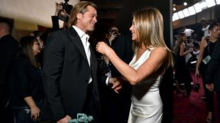 Brad Pitt and Jennifer Aniston celebrate together at SAG Awards