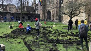 Cambridge Trinity College lawn dug up by Extinction Rebellion