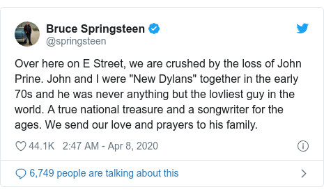 John Prine: Bruce Springsteen leads tributes to late singer