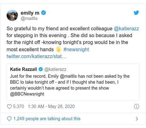 Emily Maitlis: I asked for night off from BBC