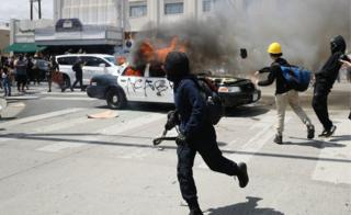 Violence breaks out amid US protests
