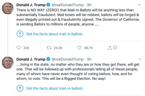 Twitter adds a warning label fact-checking Trump's false voting claims