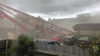 Bow crane collapse: Firefighters working to free trapped residents