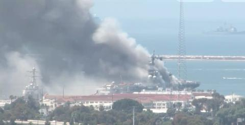 At least 18 US Navy sailors injured after ship catches fire at San Diego Naval Base